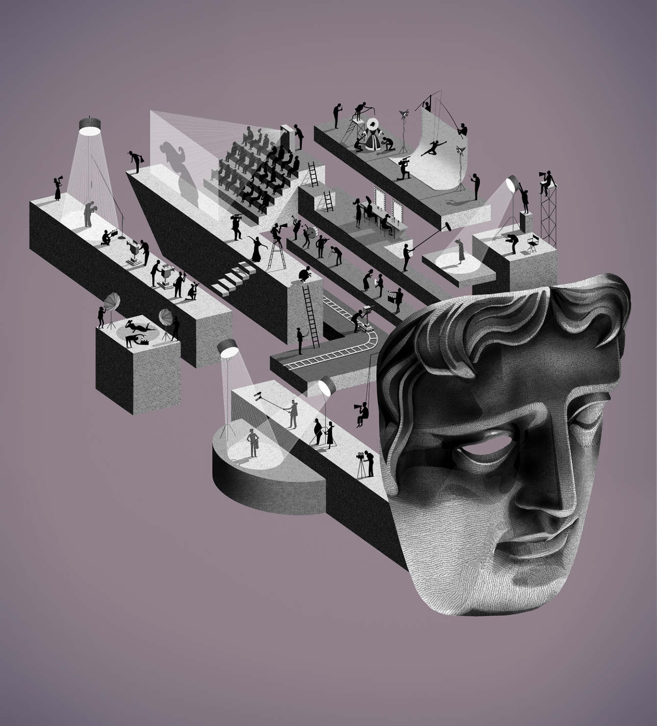 Adam Simpson's BAFTA mask illustration